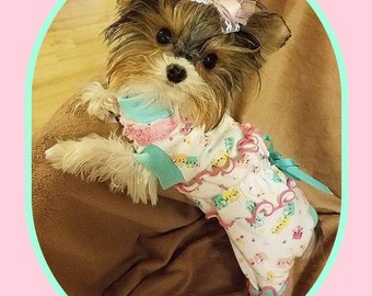 Pet Clothing Pajamas Ruffled Bum Jammies Hello Kitty and Others To Order
