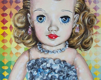 Patsy in Lavender Gown Original Oil Painting by Patsydoll