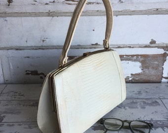 Vintage Palizzio Kelly Bag Purse 1950s Handbag - White Reptile Lizard and Goldtone Clasp