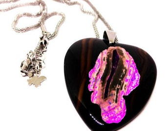 """Black Stripes Onyx Agate Heart Pendant, Hangs on Adjustable Length Stainless Steel Chain-20 to 22""""- Women's Necklace, Earthy Style, Unique"""