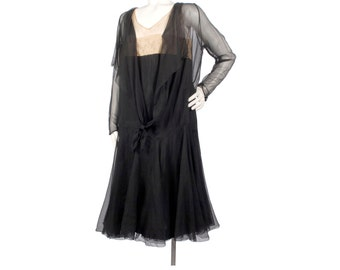 Vintage 20s Dress - 20s Silk Chiffon Dress - Black Silk Chiffon Dress - 20s Chiffon Dress - XL 20s Dress - XXL 20s Dress  20s Flapper Dress