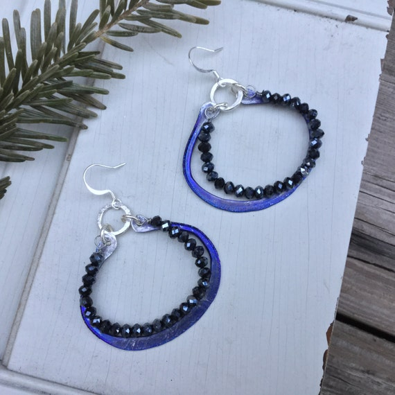 Mediterranean Boho Hoop Earrings | Bohemian Sterling Silver & Czech Glass Beads