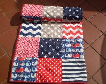 Handmade baby quilt, Newborn crib quilt, baby quilt, baby boy bedding, baby girl quilt, navy, grey, red nursery,   whales,anchors, Seaworthy