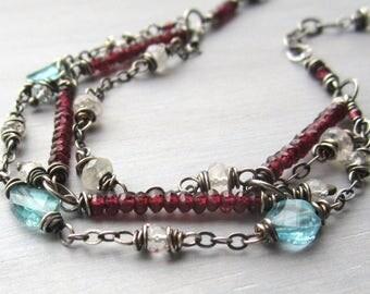 Triple Strand Bracelet, Gemstone Dangle Bracelet, Multi Strand Layering Bracelets, Colorful Bracelet, Gift for Her, Sundance Style Jewelry