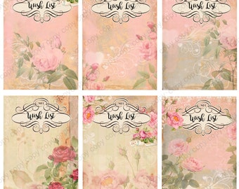 Instant Download  - Wish List- 2.5 x 3.5 inches - Digital Download - Printable  Digital Collage Sheet