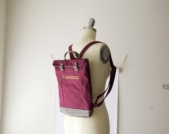 Ready to Ship, Mini Backpack in Burgundy and Smoke, Travel Bike Bag, Canvas Backpack, Small Backpack, Jenny N. Design, American Made