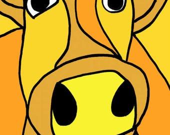 orange cow  Art Print by Giraffes and Robots
