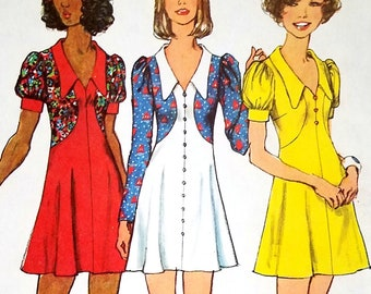 Vintage Mod Babydoll Mini Dress Pattern Simplicity 5499 Bust 36 FF Contrast Insets Puff Sleeves Boho