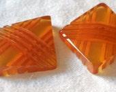 Set of 2 VINTAGE Pierced Thick Back Carved Applejuice Bakelite Cabochons or No Shank BUTTONS