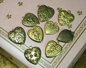 Vintage Heart Stampings/Pendants Lot of 9 PCS.