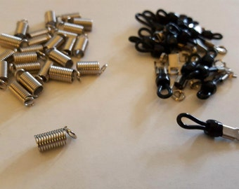 Silver Coil Spring Cord End Crimp Beads - 24 pcs - & Black Rubber and Silver Metal Accessories - 18 pcs - Bead Supply - Bella Mia Beads