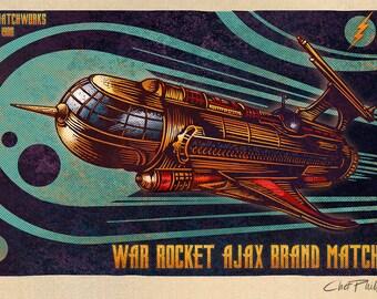 """War Rocket Ajax Matchbox Art- 5"""" x 7"""" matted print"""