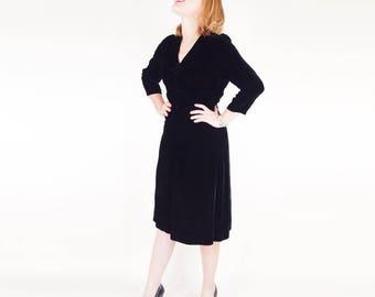 40s Black Velvet Dress with Ruched Details L