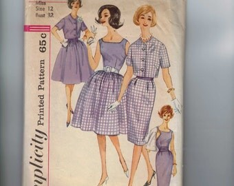 1960s Vintage Sewing Pattern Simplicity 3862 Misses Slim or Full Skirt Blouse with Sash and Bolero Jacket Size 12 Bust 32 60s