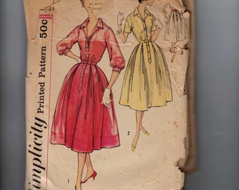 1950s Vintage Sewing Pattern Simplicity 2412 Misses Full Skirt Shirtwaist Villager Style Dress Size 14 Bust 34 50s