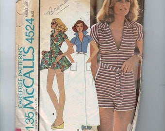 1970s Vintage Sewing Pattern McCalls 4524 Misses Shorts Jumpsuit and Wrap Around Skirt  Size 12 Bust 34 1975 70s