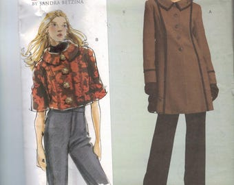 Misses Sewing Pattern Vogue V2991 2991 Sandra Betzina Today's Fit Bias Jacket Long Cropped Bust 32 34 36 38 40 42 44 46 48 50 52 55 UNCUT