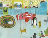 Misha finds it difficult to keep an orderly home.  Original oil painting by Vivienne Strauss.