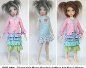 """STRAIGHTFORWARD Sewing Pattern SSP-048: Ruffle dress and jacket for Kaye Wiggs dolls.  (43cm/17"""" & 45cm/18"""") Jacket, dress, with options."""