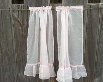 Vintage Pink Curtains Sheer Lace Cafe Curtains Pink Voile Curtain Window Treatment French Country Prairie Cottage Chic