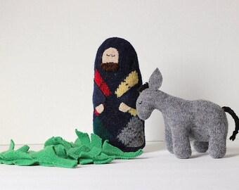 Jesus, Donkey and Palms Doll Set // Children's Palm Sunday Set // Easter Doll Set // Lent for Children