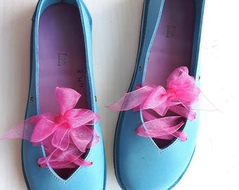 UK 8, Handmade Ladies Shoes, Fairytale barefoot comfort, CLARA #3320 blue skies