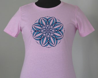 Glow in the dark flower of love, women's fitted t-shirt, sacred geometry clothing, yoga wear