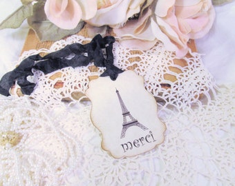 French Eiffel Merci Tags Large Gift Hang Favor w/ribbons - Set of 9- Lingerie Party Bridal Shower Baby Shower Bachelorette Paris Party