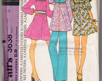 Vintage Sewing Pattern 1970's Ladies' Dress, Tunic and Trousers McCall's 3638