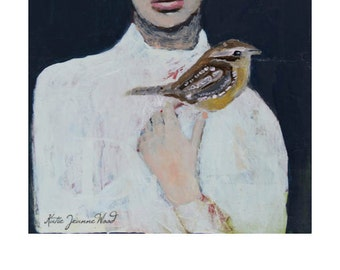 Woman and Wren Bird Portrait Painting Print. Girl & Bird Digital Print. Art Gift For Women. Home Wall Art Print.