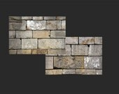 Old Cut Stone Block Digital Photo Background, Grey Stone Blocks with Peeling Paint Styled Industrial Grunge Stock Photo