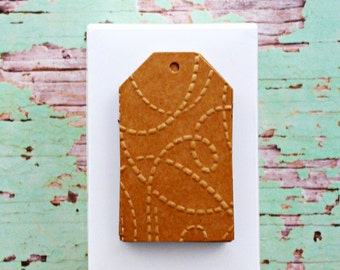 Kraft Brown Tags | Squiggly Lines Tags | Embossed Tags | Christmas Tags | Embossed Kraft Tags | Squiggly Lines Tags | Modern Christmas