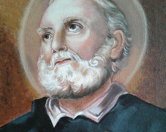 Saint Philip Neri, Cong. Orat. confessor and Founder 11x 14 Acrylic Painting on Canvas, OOAK Original painting, Catholic Art,