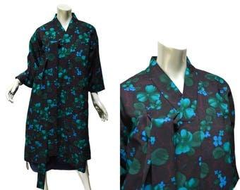 "Women's Korean Durumagi Vintage Hanbok Overcoat 38"" Bust ~ Small to Medium - Black Blue Green Floral"