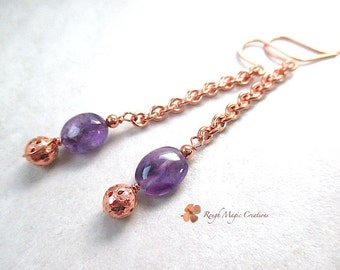 Long Earrings Purple Amethyst Gemstone, Copper Chain Shoulder Duster Dangles, February Birthstone Jewelry, Birthday Gifts for Women  E470