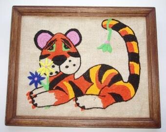 Vintage Yarn Art, 1970s Tiger Yarn Art, Framed Retro Yarn Art for Child's Nursery, Vintage Crewel Fiber Art in Orange, Yellow, Black, Green