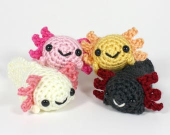 Crocheted Axolotl Amigurumi Plushie - Choose Your Own Cute Axolotl, Natural Colors - MADE TO ORDER