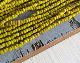 MINI yellow seed beads , yellow glass bead, opaque delicate spacer  tube barre, irregular shape Indonesian - 1 to 2mm (44 inches std)6bb13-3