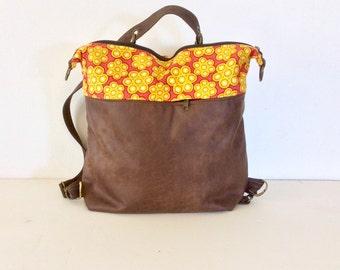 sac Convertible Backpack Purse, yellow brown bag, medium vegan leather Backpack, Convertible Backpack, Traveller backpack, Multi Pocket Bag