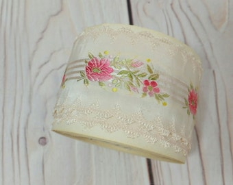Vintage French Embroidered Trim Woven Ribbon Pink Floral Cream By The Yard