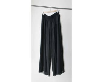 1990's I Magnin Sheer Black Chiffon Wide Legs Maxi Pants