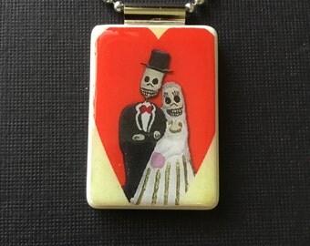 Day of the Dead Jewelry, Bride and Groom Jewelry, Wedding Jewelry, El Dia De Los Muertos pendant, handmade day of the dead necklace, mahjong
