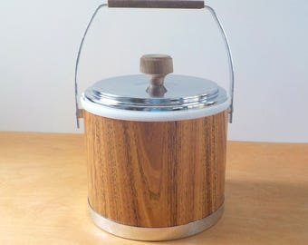 Vintage Mid Century Ice Bucket • Kromex Faux Bois and Chrome Ice Bucket
