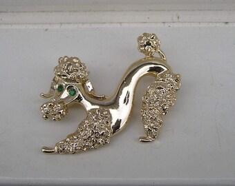Cute Vintage Gerrys Goldtone Poodle Dog Rhinestone Pin Brooch