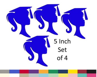 Graduation Table Centerpiece Picks DIY Graduation Decor Party Girl Silhouette Decoration Supply 5 Inch Set Of 4 Pick From 20 Colors