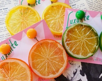 Zingy Citrus! Jumbo Lemon, orange or lime slice earrings 1940's 1950s novelty style by Luxulite