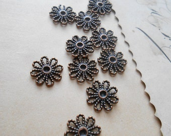 10 pc antiqued copper flower floral filigree setting charms fits 2 mm stone - vintage old new stock jewelry supplies