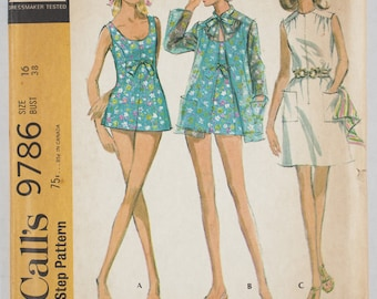 Vintage McCall's Misses' Bathing Suit, Cover-up and Beach Dress Size 16 Bust 38 pattern 9786 date 1968