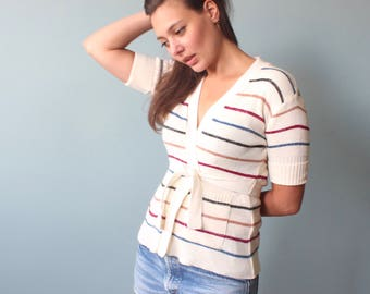 1970s wrap sweater | short sleeve belted sweater top | small