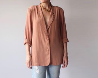 Vintage Oversized Blazer   Faux Silk Jacket   Minimalist Tan Rust Silky Top   1990s medium - large